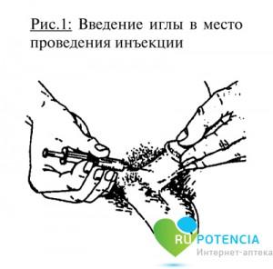 Введение иглы в место проведения инъекции